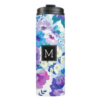 Modern Colorful Watercolor Flowers Pattern Thermal Tumbler
