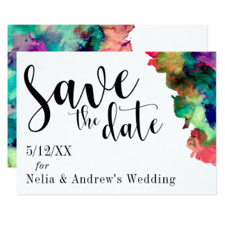 Modern Colorful Watercolor Save the Date Card