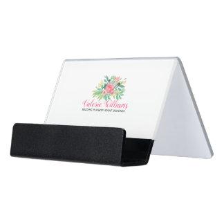 Modern Colorful Watercolors Flowers Bouquet Desk Business Card Holder