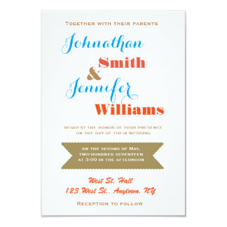 Modern colorful wedding invitations