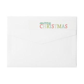 Modern Colors Merry Christmas wrap return address Wrap Around Label