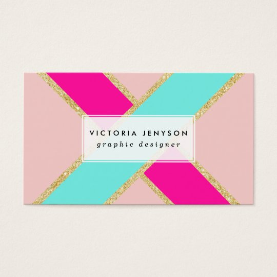 Modern colour block neon pink mint gold stripes