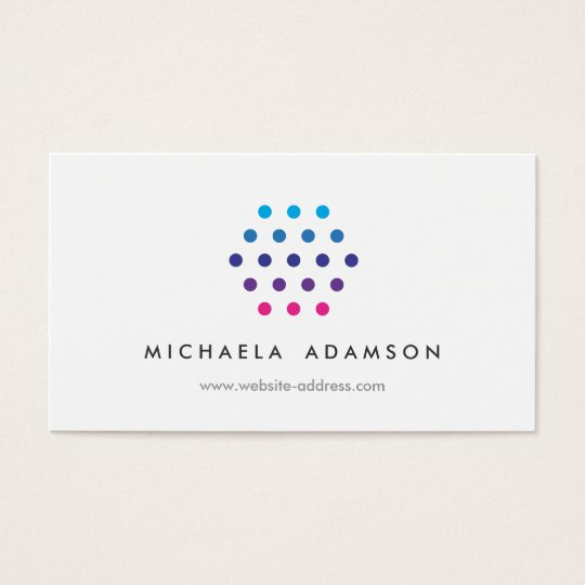 Modern Colour Dots Logo on White Business Card