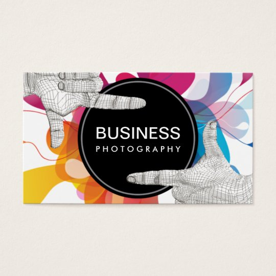 Modern Colour Flow Hands Frame Photography Business Card