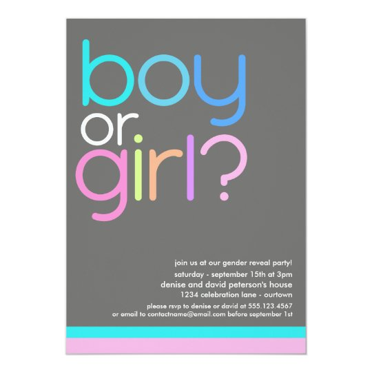 Modern Colour Gender Reveal Party Invitation