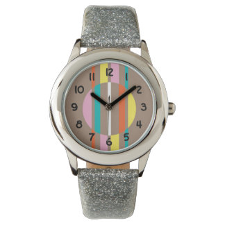 Modern colourful abstract stripes pattern wristwatch