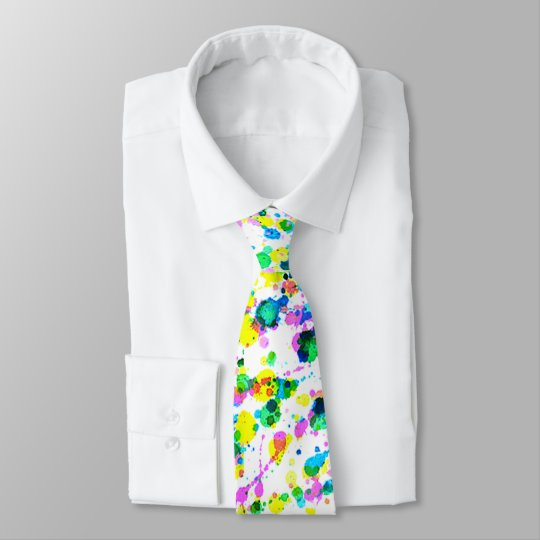 Modern Colourful Bright Watercolors Splatter Tie