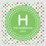 Modern Colourful Christmas Personalised Holidays Square Sticker