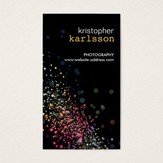 Modern Colourful Confetti Bokeh Black Vertical Business Card