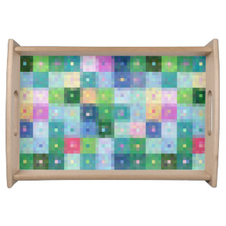 Modern colourful country quilt squares pixel block serving tray