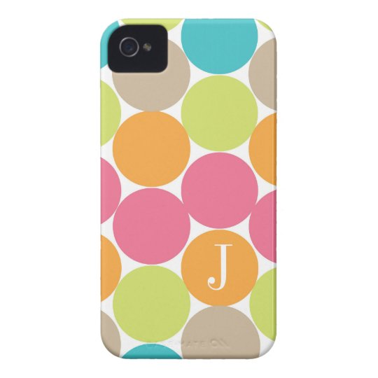 Modern Colourful Dots Personalised iPhone 4 Case-Mate Case