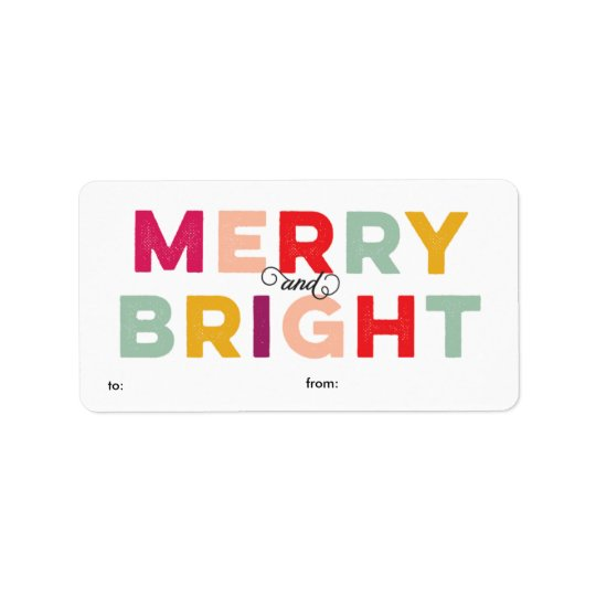 Modern Colourful Merry and Bright Gift Label Address Label