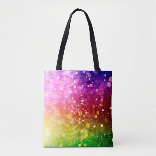 Modern Colourful Rainbow Bokeh Glitter Print Tote Bag