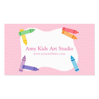 Modern Colourful Rainbow Crayons Pink Polka Dots Pack Of Standard Business Cards