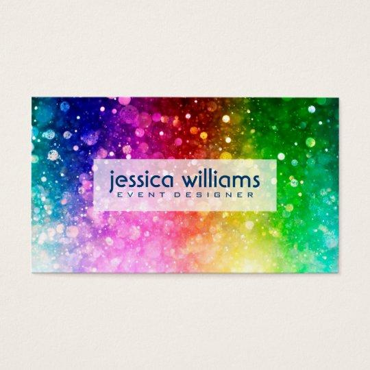 Modern Colourful Rainbow Glitter Burst Business Card