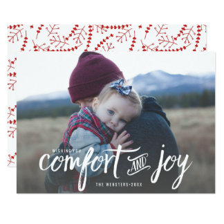 Modern Comfort and Joy Holiday Christmas Photo Card