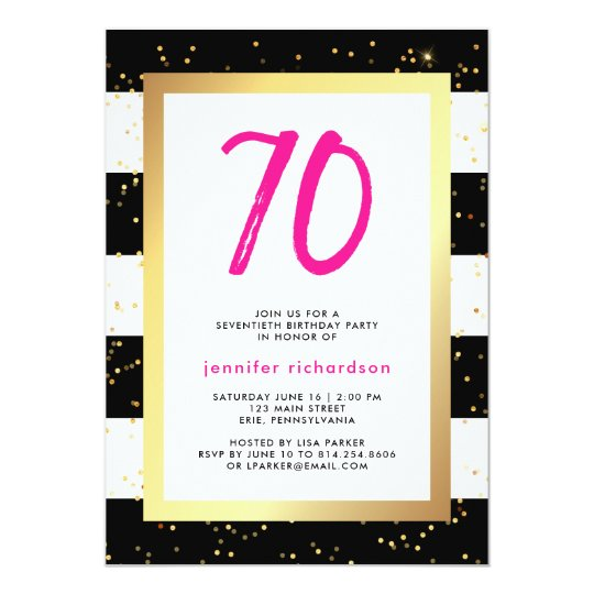 Modern Confetti | 70th Birthday Party Invitation