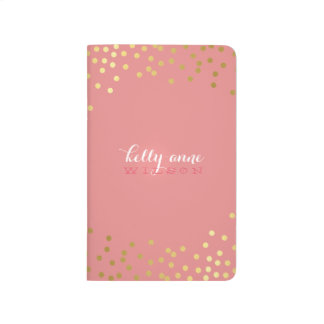MODERN CONFETTI cute glamorous spot gold coral Journals