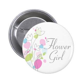 Modern Confetti flower girl wedding pin / button