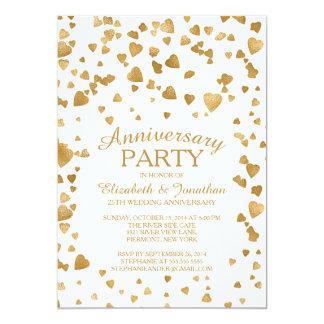Modern Confetti Heart Anniversary Party Invitation
