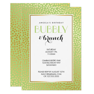 Modern Confetti Polka Dots Lime Gold Brunch Card