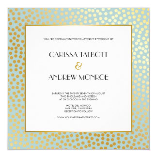 Modern Confetti Polka Dots Mint Gold Wedding Card