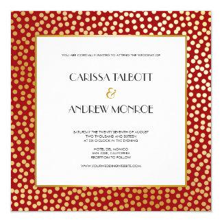 Modern Confetti Polka Dots Red and Gold 13 Cm X 13 Cm Square Invitation Card