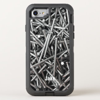 Modern Construction Worker Metal Nails Photo Name OtterBox Defender iPhone 7 Case