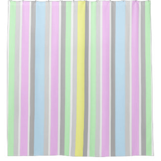 Modern Contemporary Pastel Stripe Pattern Shower Curtain