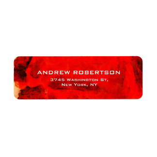 Modern Contemporary Red Abstract Elegant Return Address Label