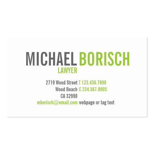 Modern Contemporary White Grey Green Business Card