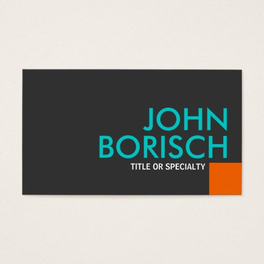 Modern Cool Colours Orange Turquoise Business Card