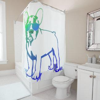 Modern Cool French Bulldog Boy Illustration Shower Curtain