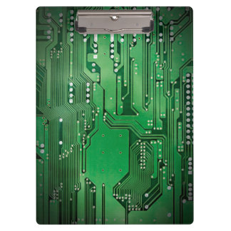 Modern Cool Green Circuit Board High Tech Photo Clipboard