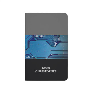 Modern Cool Grey Blue Circuit Board Computer Journals