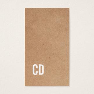Modern Cool Kraft Paper Brown Monogram Consultant Business Card