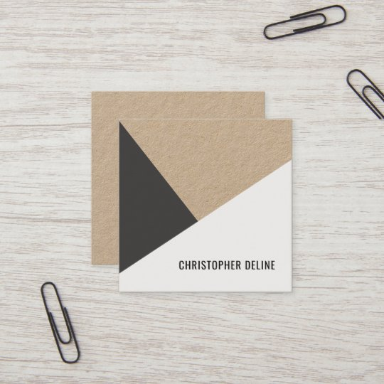 Modern cool kraft paper grey white geometric square business card modern cool kraft paper grey white geometric square business card reheart Image collections