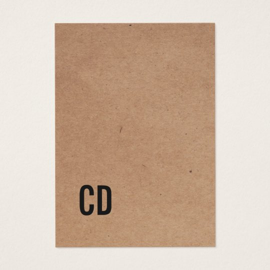 Modern Cool Kraft Paper(printed) Black Monogram Business Card