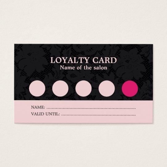 Modern Cool Pink Black Lace Salon Loyalty Card