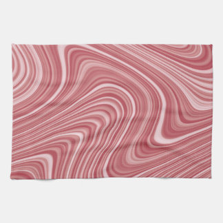Modern Cool Red White Silver Grey Curvy Lines Tea Towel