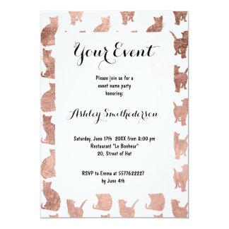 Modern cool rose gold cats pattern custom 13 cm x 18 cm invitation card