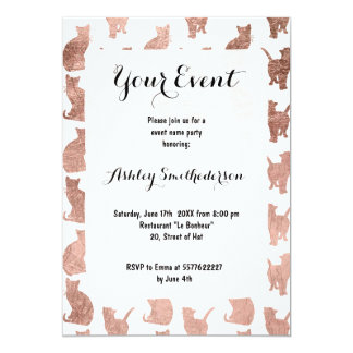 Modern cool rose gold cats pattern custom card