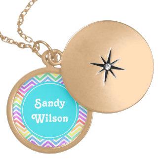Modern, cool, trendy  rainbow chevron monogram pendants