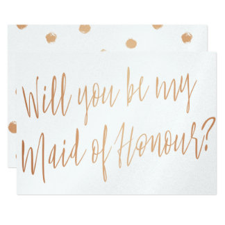 "Modern Cooper ""Will you be my maid of honour"" Card"