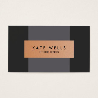 Modern Copper and Dark Purple Color Block Designer Business Card