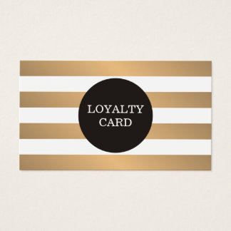 Modern Copper Striped Grey Beauty Loyalty Card