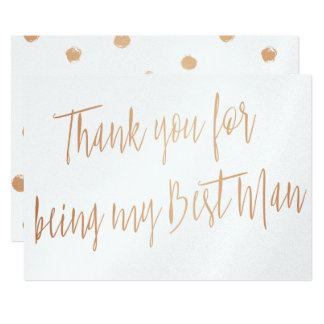 "Modern Copper ""Thank you for being my best man"" 13 Cm X 18 Cm Invitation Card"