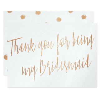 "Modern Copper ""Thank you for being my bridesmaid"" Card"