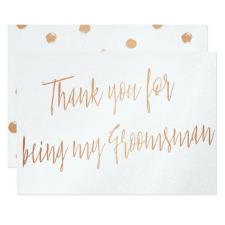 "Modern Copper ""Thank you for being my groomsman"" 13 Cm X 18 Cm Invitation Card"