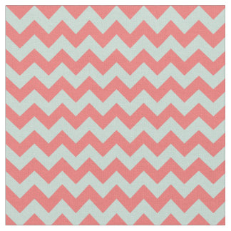 Modern Coral and Mint Green Chevron Print Fabric